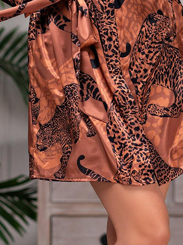 "MiaMia zīda halāts ""Amazonka Brown - Black Cheetah Print"""
