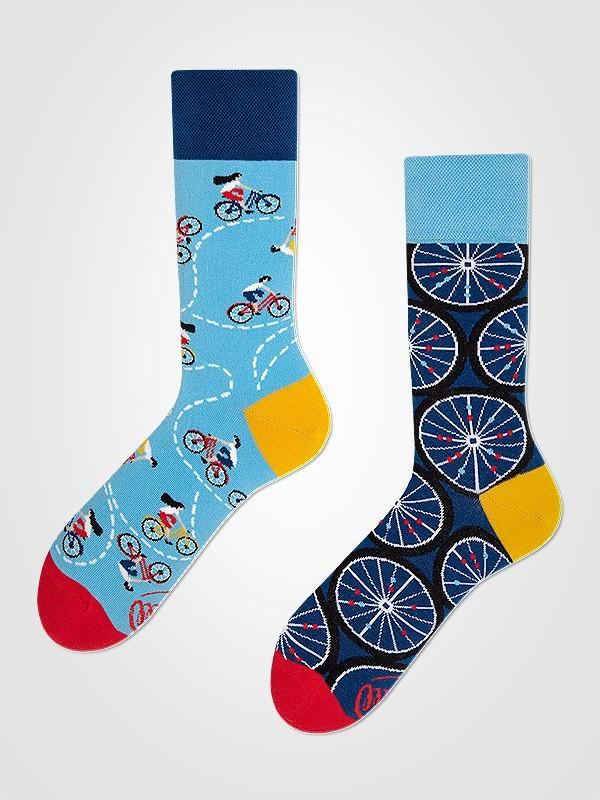 "Many Mornings unisex kokvilnas zeķes ""The Bicycles Blue - Yellow - Red"""