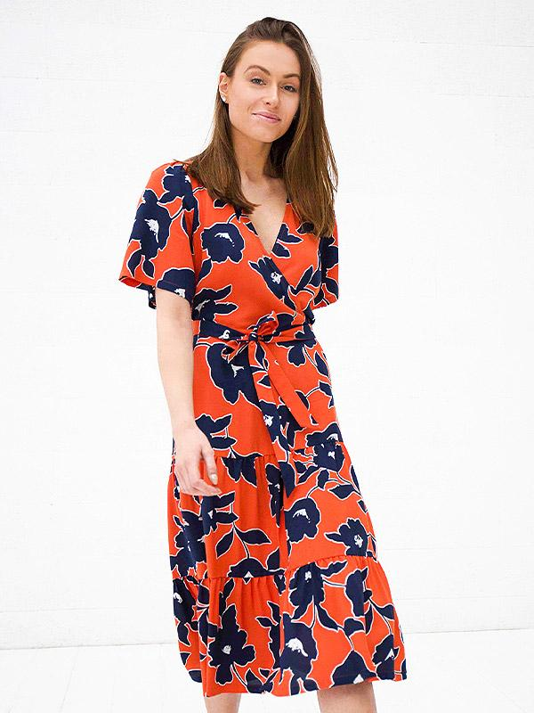 "Atella вискозное платье ""Bella Orange - Navy Flowers Print"""